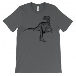 Beer Drinking Dinosaur Grey T-Shirt