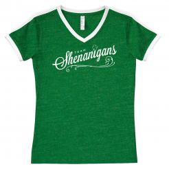 Team Shenanigans Women's V-Neck Ringer Soccer Jersey Tee
